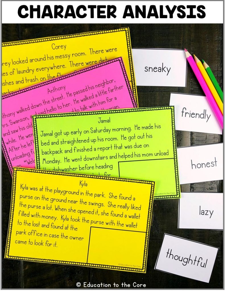 Character Analysis: Students will be reading the story about a character and complete the character analysis mats. This center includes: 16 stories, 16 character traits