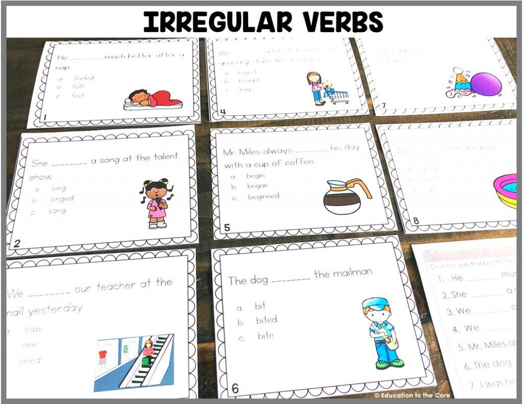 Irregular Verbs:  Students will be reading sentences and deciding which irregular verb is used in the sentence.
