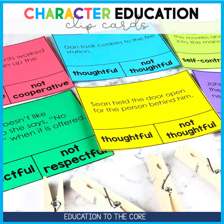 We wanted to make it easier to teach character education by getting hands on activities and scenarios for your students. Each set of task cards focuses on another character trait. We had so many teachers ask if we could make a resource that just had the Character Education Clip Cards.