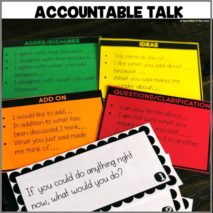 Accountable Talk Prompts: These Accountable Talk Prompts are perfect for practicing appropriate accountable talk. Students can choose from the four types of accountable talk as they discuss their answers to the prompts!