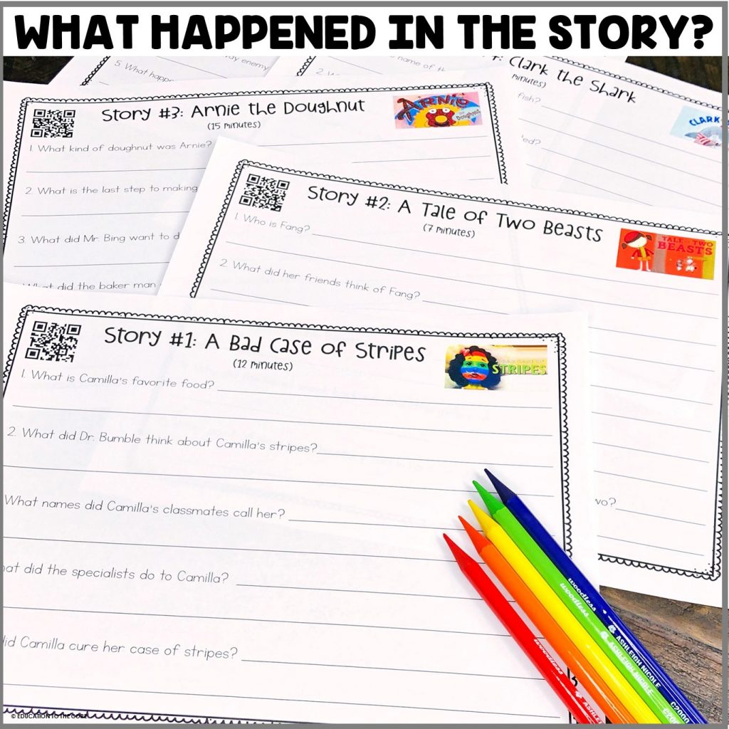 Students will be listening to various stories and answering the questions on the listening mats.