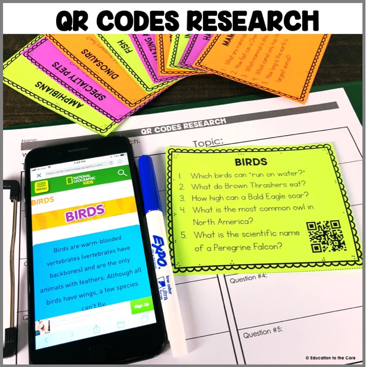 QR Codes Research: Truly one of my favorite centers of all time. Students will scan the cards and research to find answers to the questions on the cards.