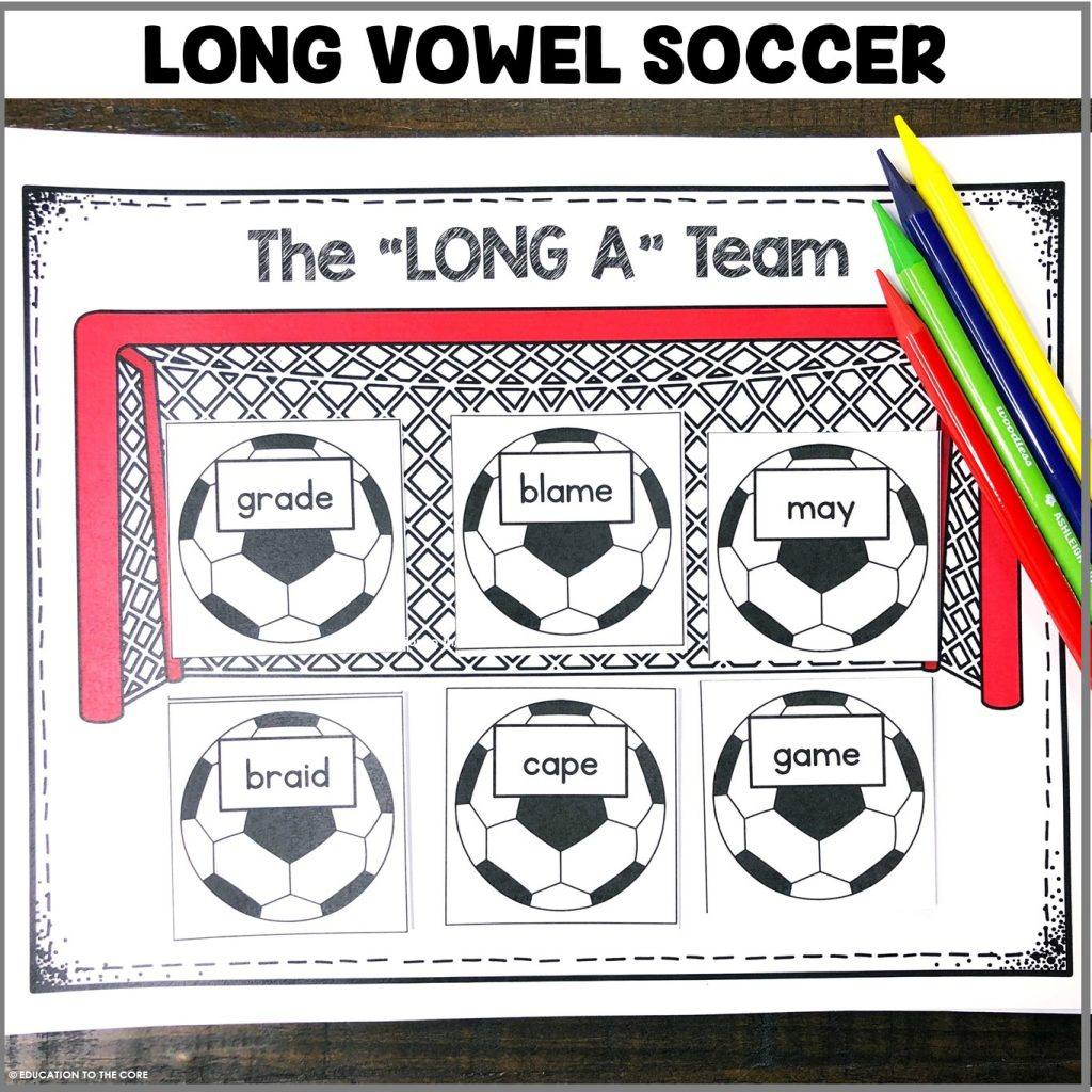 Students will be sorting long vowels and placing them in the correct long vowel goal!