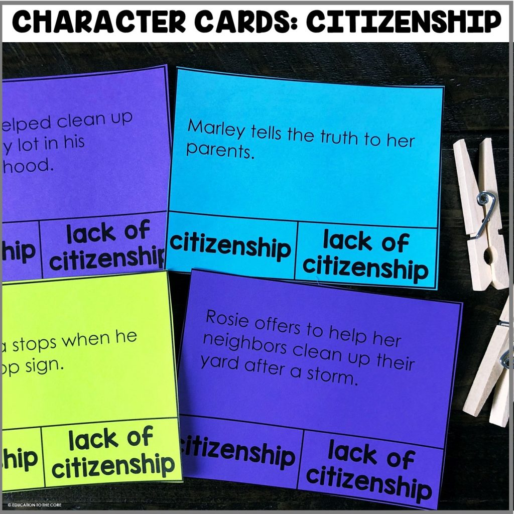 This month's character card center features citizenship! Students will be identifying what does and doesn't make a good citizen.