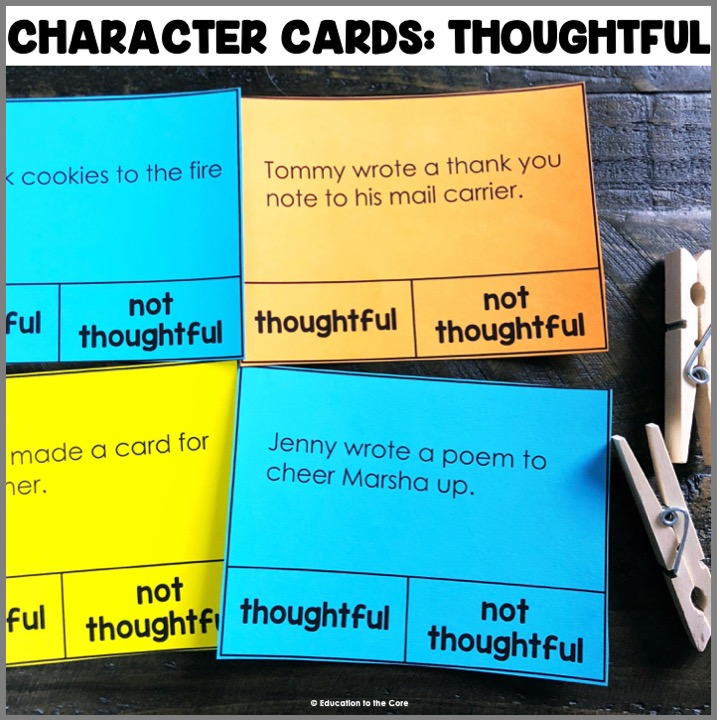 Character Cards: Thoughtful Another great character card center! This month features thoughtfulness! A timely character trait for this time of year.