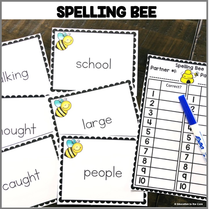 "Spelling Bee: Students can practice ""being the teacher"" and giving a 10 word spelling test with common 2nd Grade sight words! They can also keep tally by using the cards provided."