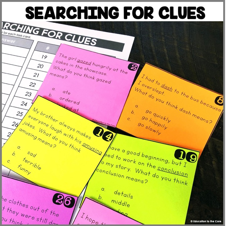 Searching for Clues: These task cards are GREAT for practicing valuable context clues skills. I truly believe that if we can explicitly teach these skills in isolation, students will be able to use context clues when reading independently.