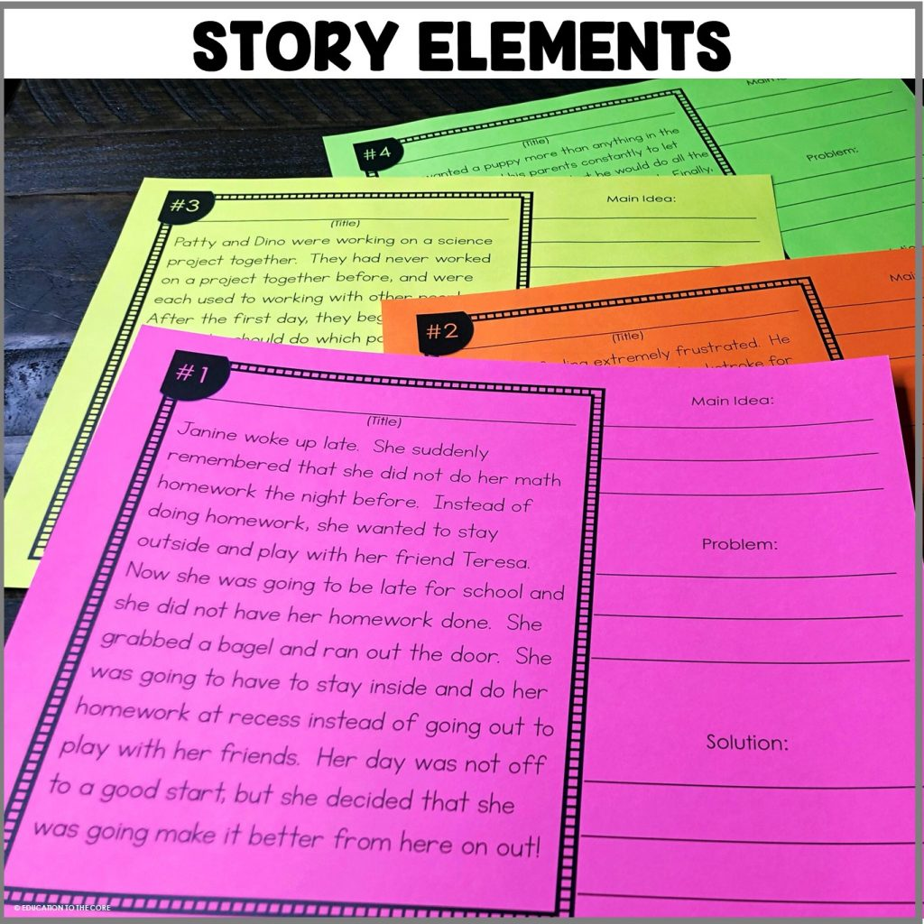 Students will be identifying story elements on the mats provided.