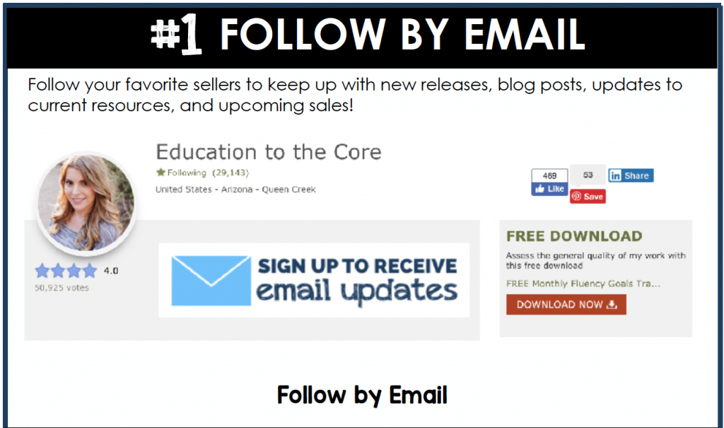 Follow your favorite sellers to keep up with new releases, blog posts, updates to current resources, and upcoming sales!