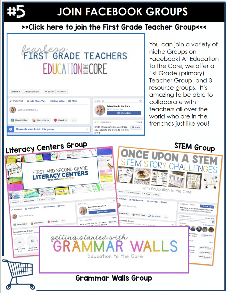 You can join a variety of niche Groups on Facebook! At Education to the Core, we offer a 1st Grade (primary) Teacher Group, and 3 resource groups. It's amazing to be able to collaborate with teachers all over the world who are in the trenches just like you!