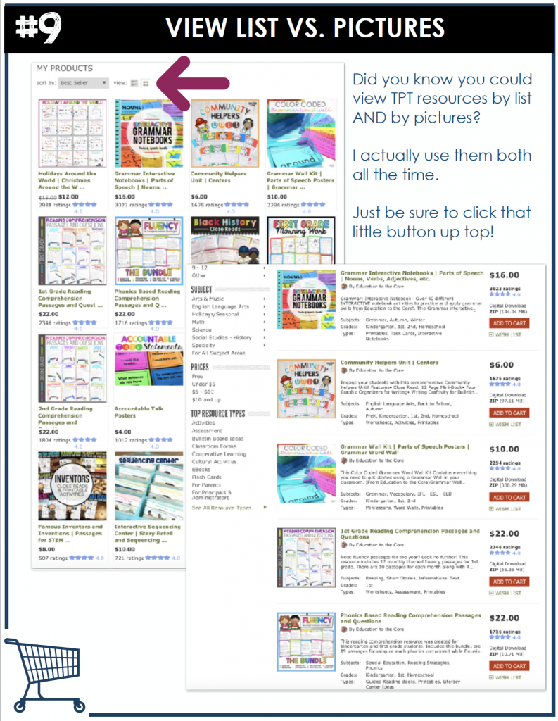 Did you know you could view TPT resources by list AND by pictures? I actually use them both all the time. Just be sure to click that little button up top!