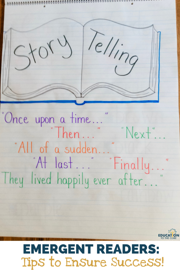 "Using books with vivid illustrations and no words, such as Goodnight Gorilla, The Snowman, The Lion and the Mouse, can help students become ""storytellers"".  We will definitely need to model this skill, using common story language and phrases, like ""Once upon a time…"", transitional words (after, then, next), and ""happily ever after"", etc."