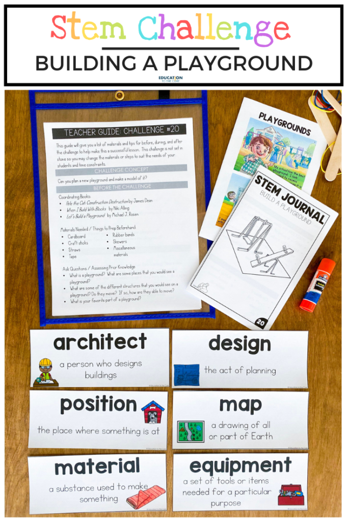 Layout of the materials included in the Building a Playground challenge, vocabulary cards, journal, and mini-book