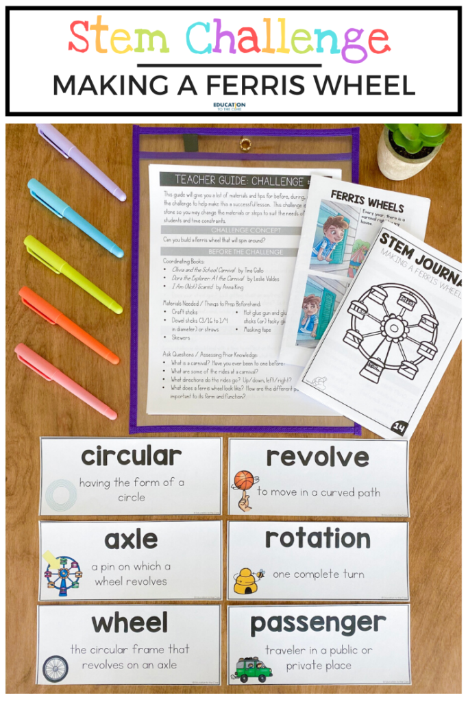 Image of items included in Ferris wheel challenge; instructions, vocabulary cards, student journal, and mini book