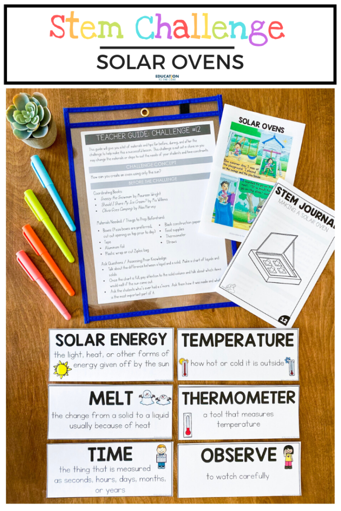 Image of materials included in solar oven challenge; mini book, vocabulary cards, student journal, instructions
