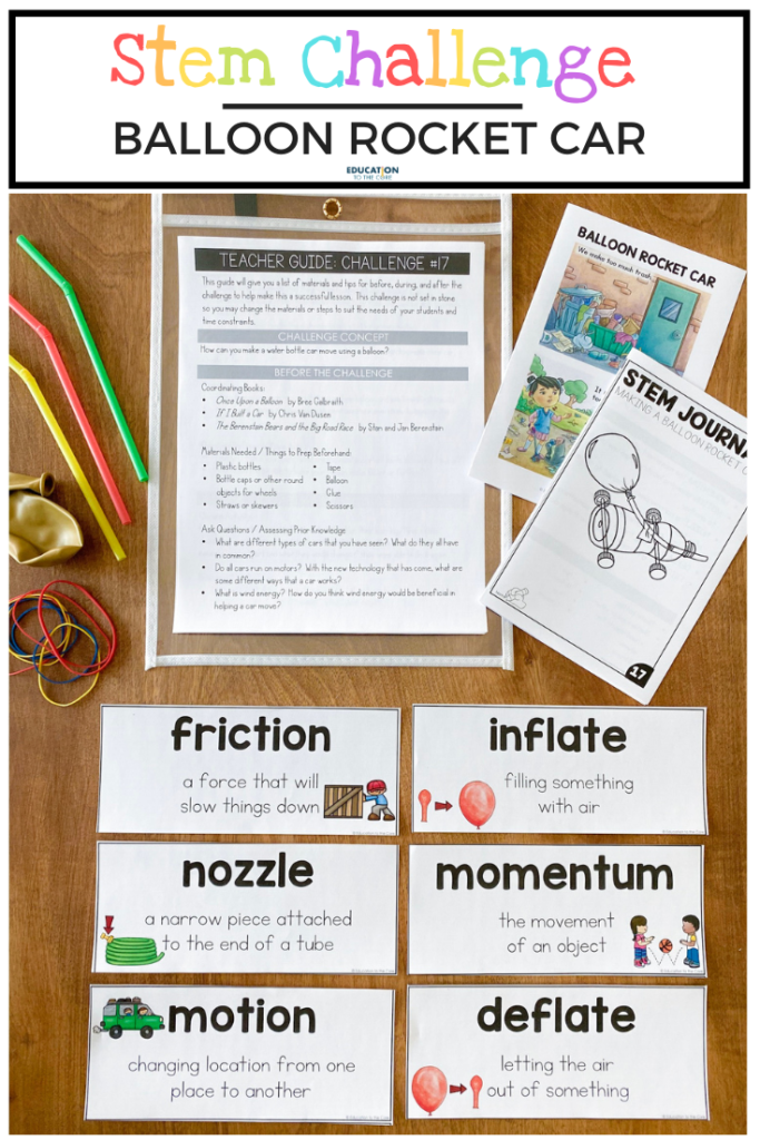 Image of materials included in building a balloon rocket car; vocabulary cards, journal, instructions, straws, balloons, and rubber bands
