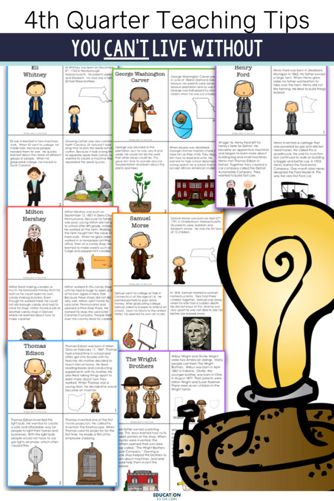 inventor booklets that you can use to teach about inventors in the fourth quarter