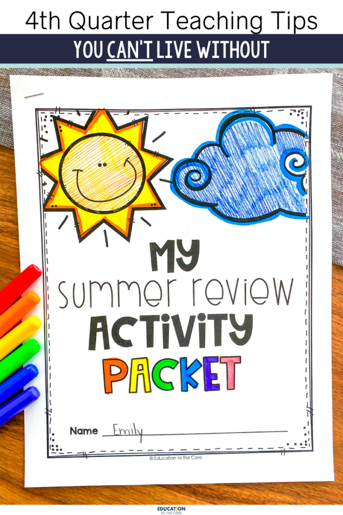photo of end of year and summer review activity packet