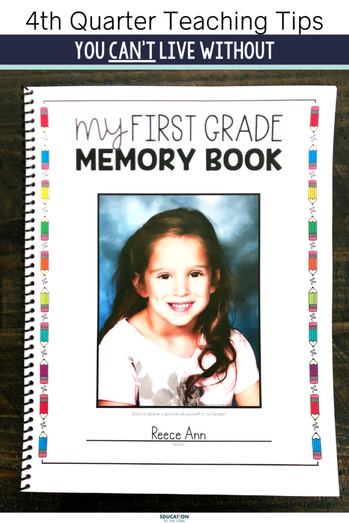 photo of the front cover of fourth quarter memory book for students