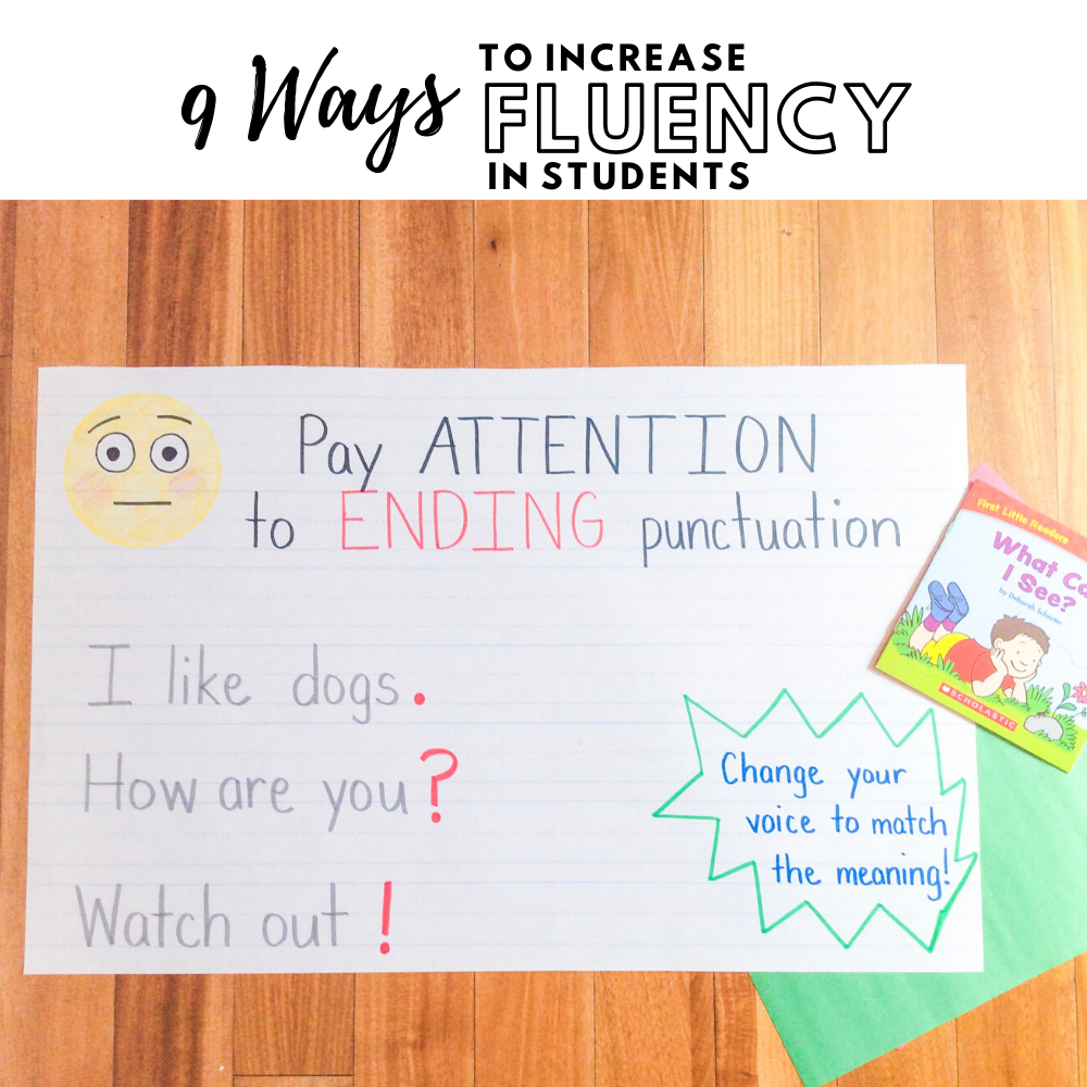 anchor chart teaching students to notice end punctuation
