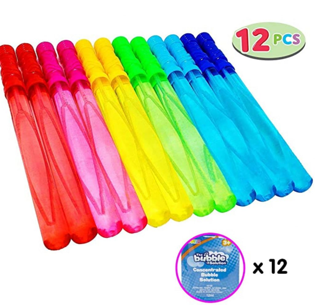 large 12 pack of colored bubble wands for outdoor play
