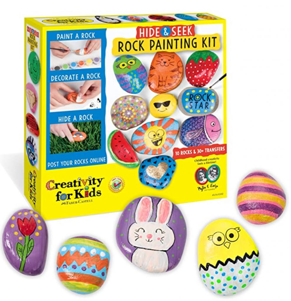 entertain the kids with rock painting to decorate your backyard