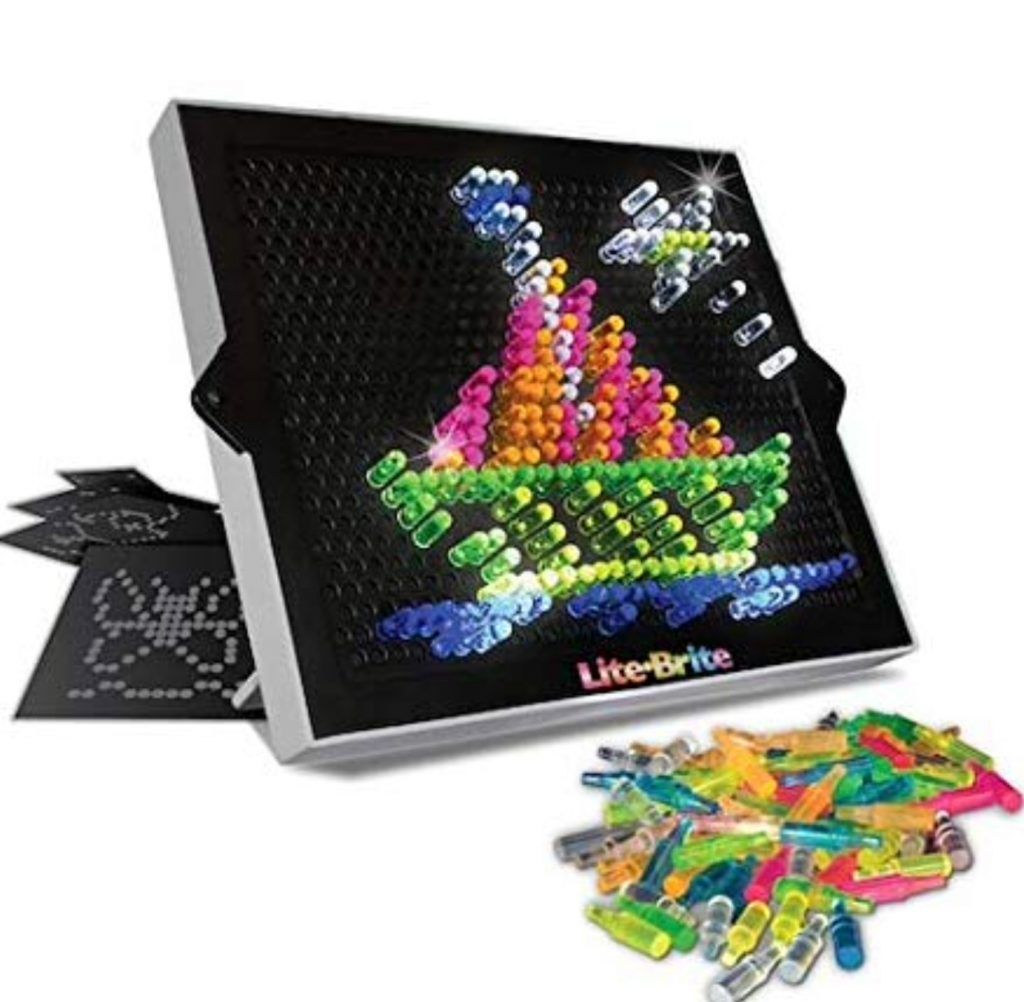 lite brite board, pegs, and pictures to use on the board