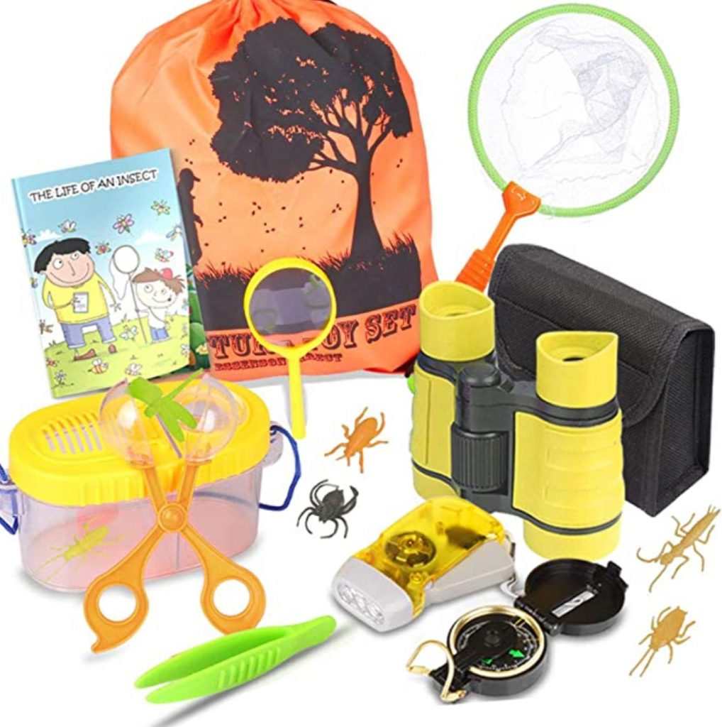 kids will be entertained with this outdoor explorers kit; binoculars, backpack, compass, bug net, and bug catching container