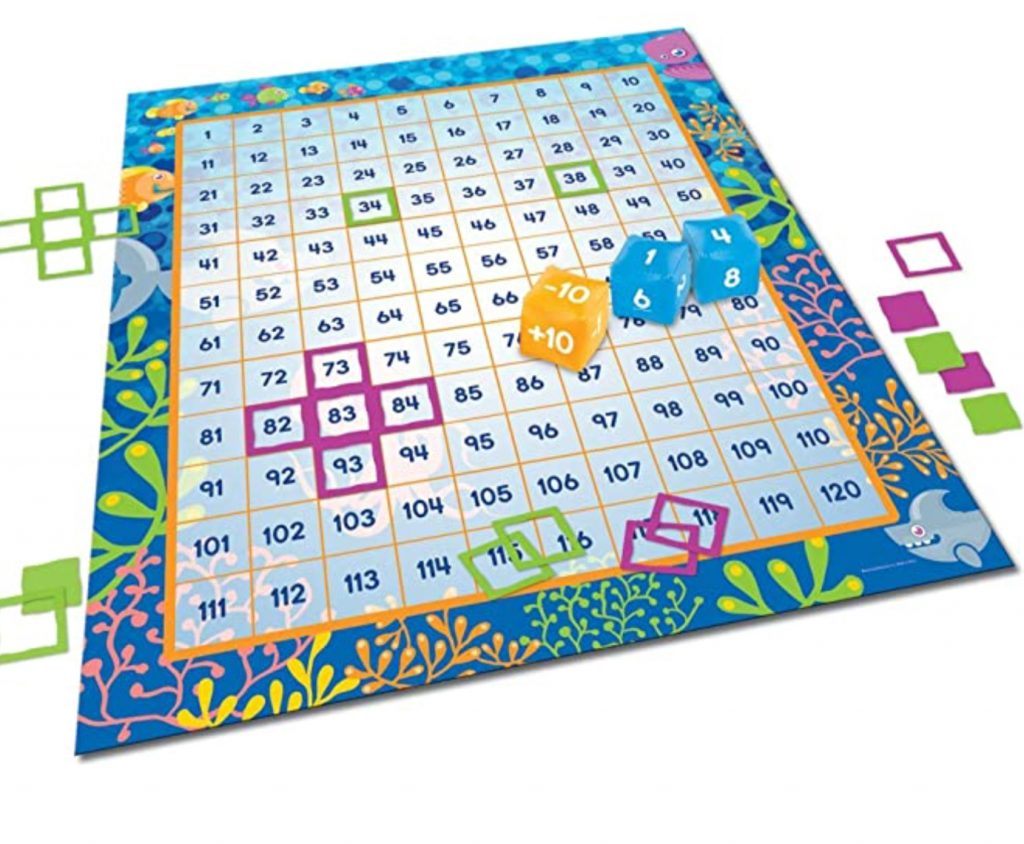 kids can practice math on this large number mat; with dice and squares to cover numbers up