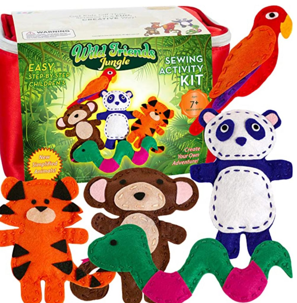 image of jungle animal sewing kit for beginners; make a snake, panda, tiger, monkey, or parrot