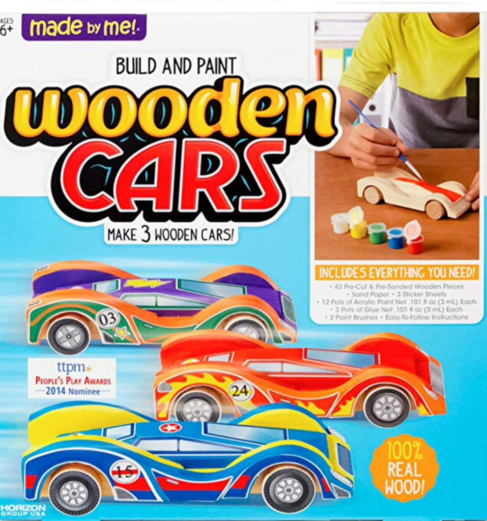 wooden car kit; children construct, paint, and race their cars