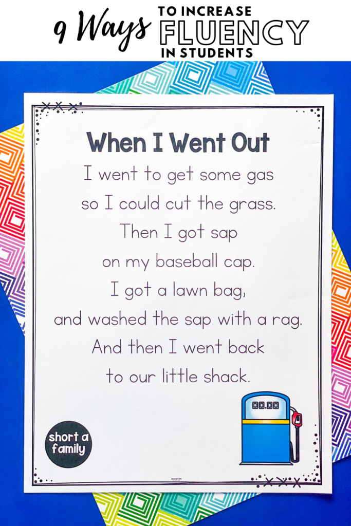 example of a phonics fluency poem for students to read