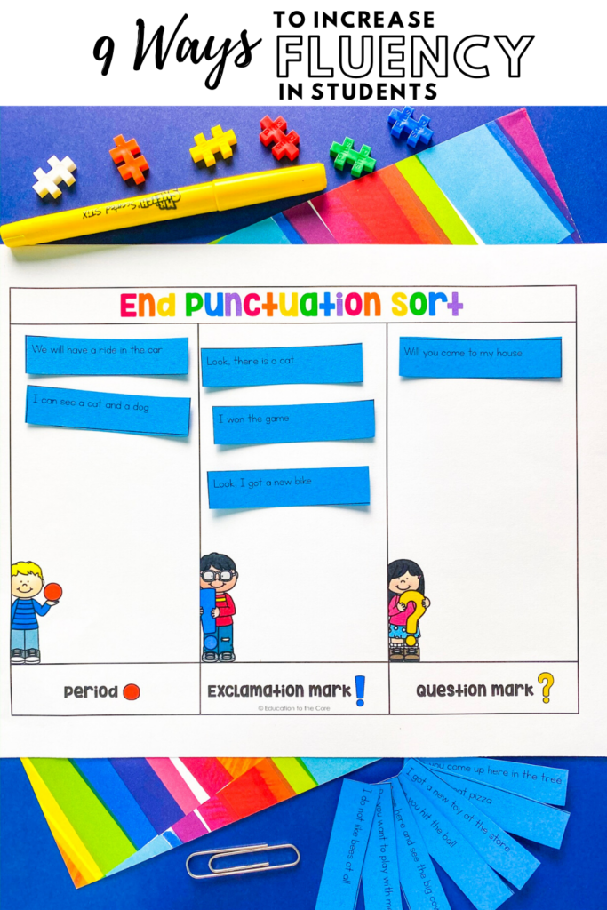 example of sorting sentences by ending punctuation center mat