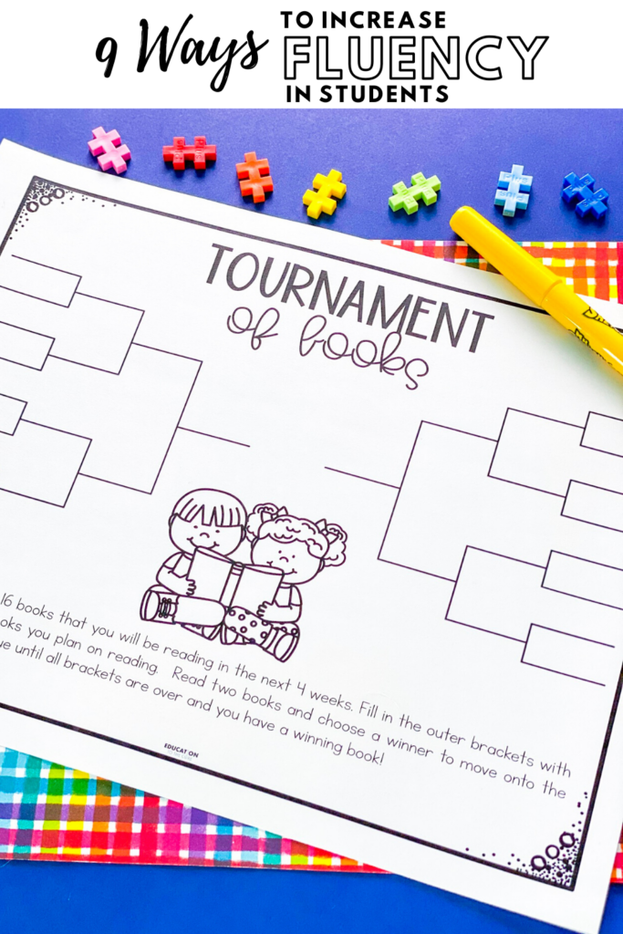 paper example of tournament of books activity for students to complete as fluency practice