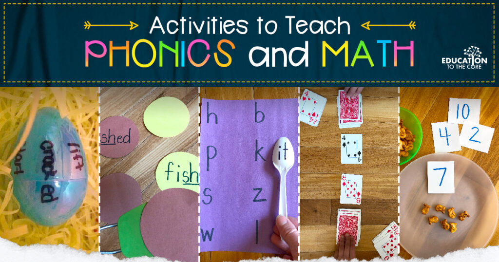 Photo collage of activities that teach phonics and math