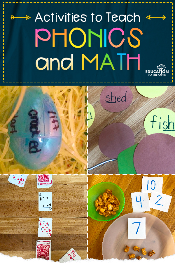 Photos of hands-on activities to teach phonics and math