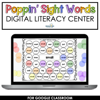 DIGITAL Poppin' Sight Word Bubbles for Google Slides™