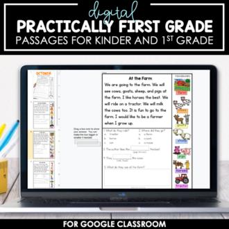 DIGITAL Practically 1st Grade Reading Passages for Google Classroom™/Slides™