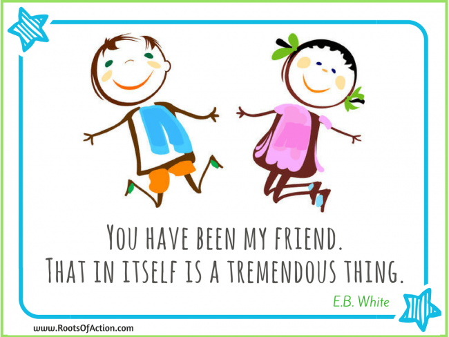 two drawn kids with an E.B. quote on friendship