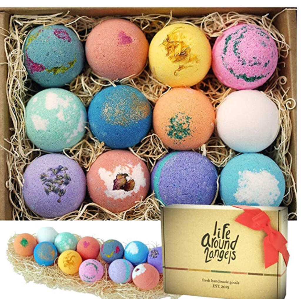 Enjoy a relaxing bubble bath with this bath bomb variety gift set.