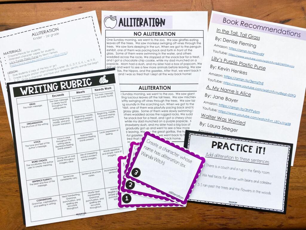 alliteration mini-lesson set