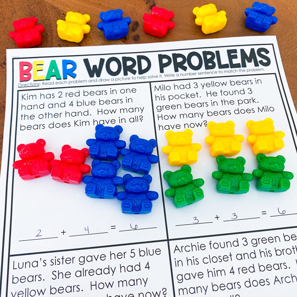 Hands-on Bear counter activity for word problems for student kits