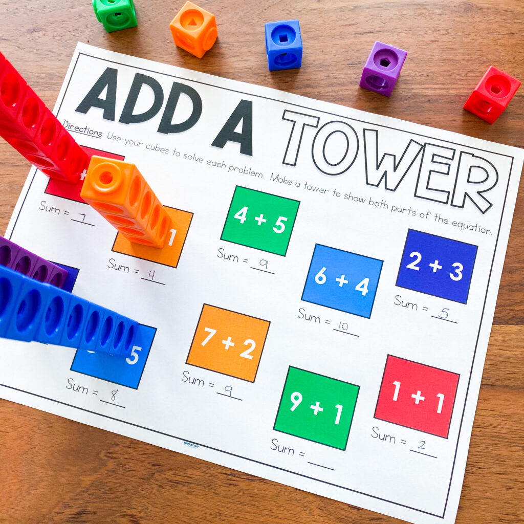 Add a Tower snap cube individual student activity
