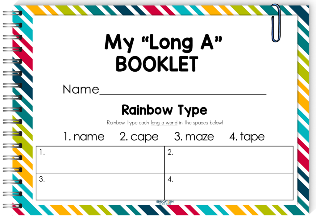 image of rainbow type activity within our phonics booklets