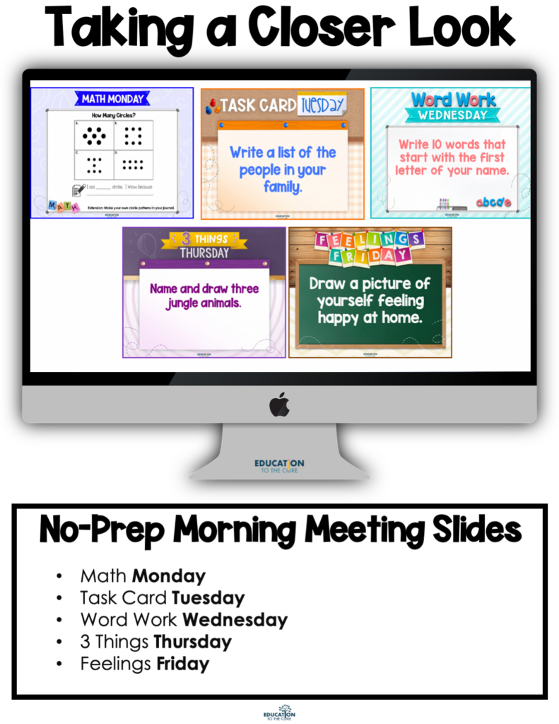 Image outlining the content of our morning meeting slides