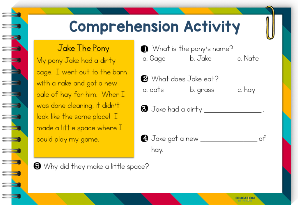 image of fluency passage and comprehension questions