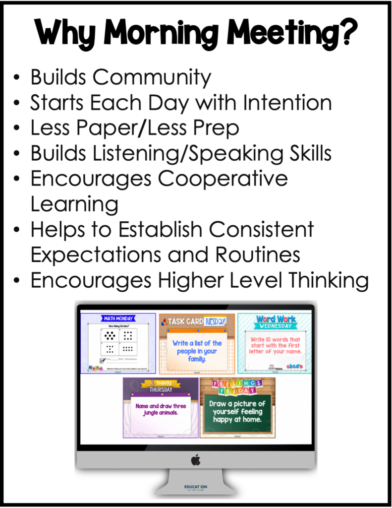 Bullet points of the positives of conducting morning meeting in your classroom