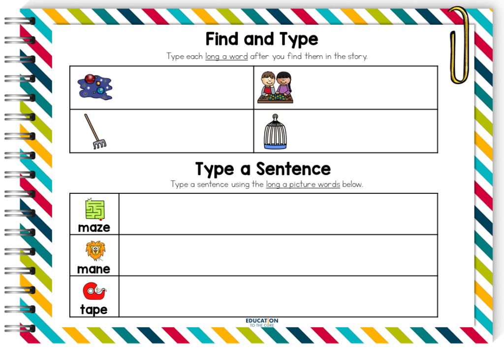 image of word typing and sentence typing activities within phonics booklets