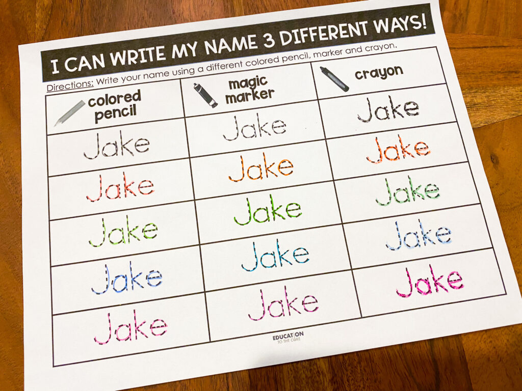 practice your name using different writing tools