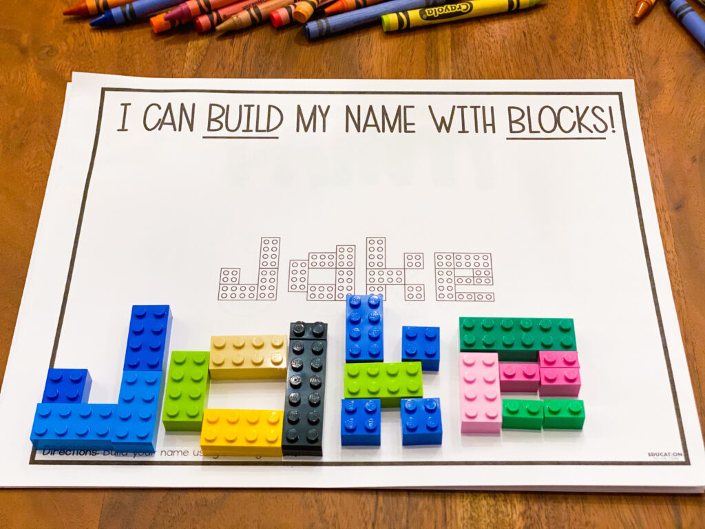build your name with LEGO blocks
